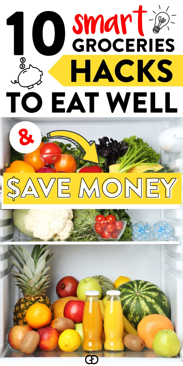 10 saving money tips to save on groceries (without coupons!). I used these hacks to save hundreds of $$$ each month! By following these easy steps you will be able to reduce waste while eating well! #savingmoney #savingtips #savemoney #eatwell