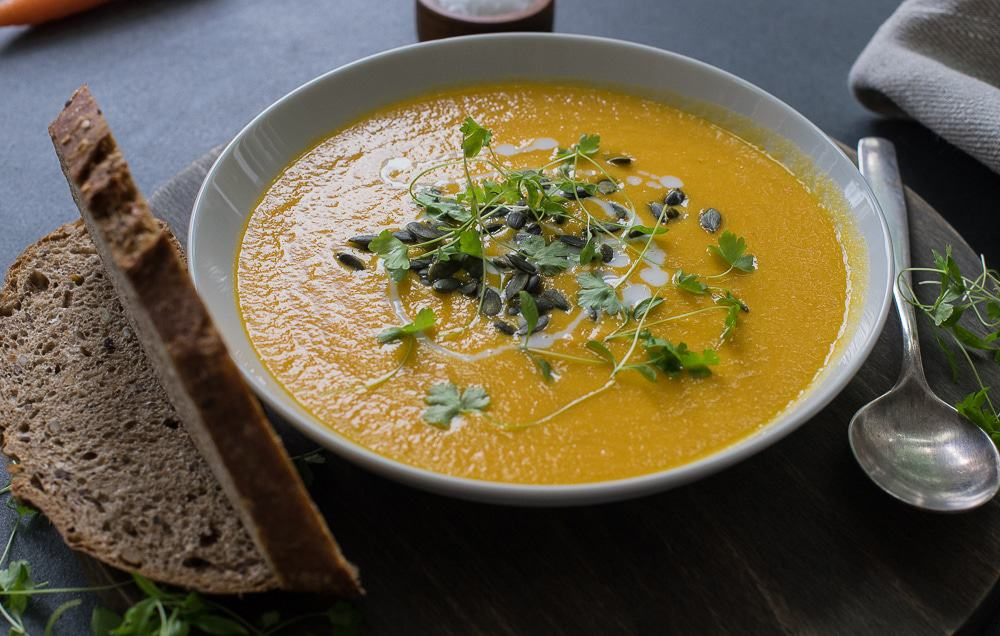 A quick and easy weeknight dinner for cold winter evenings. A filling and delicious Carrot and Ginger soup with the addition of split lentils!