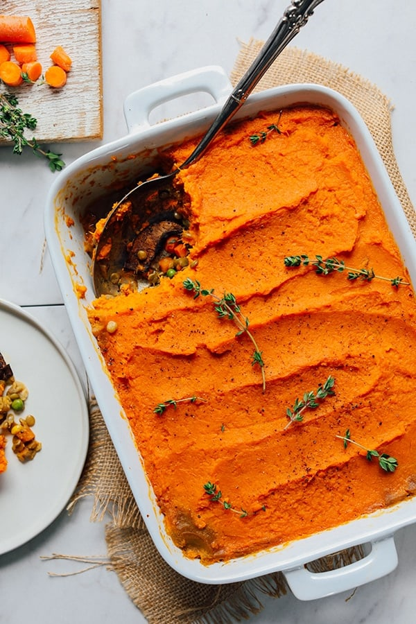 Lentil and Sweet Potato Shepherd's Pie I love lentils and this take on classic shepherd's pie with lentils, vegetables, and a fluffy sweet potato topping is just delicious. It's the perfect main for a wonderful Christmas.