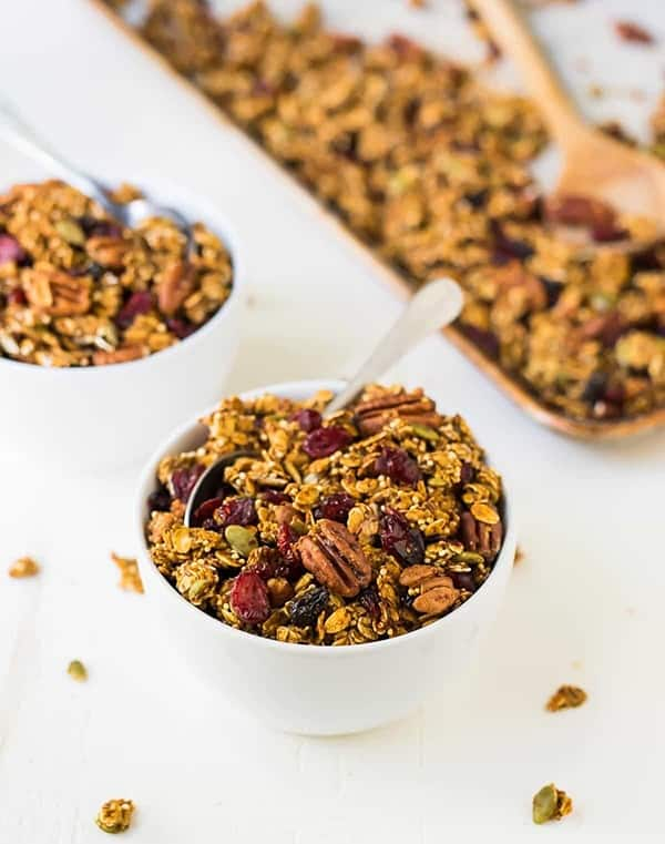Pumpkin Granola This granola is so easy to make and yet so delicious. Sweet and crunchy, full of goodness: a simple, healthy recipe with oats, quinoa, cranberries, and pecans.