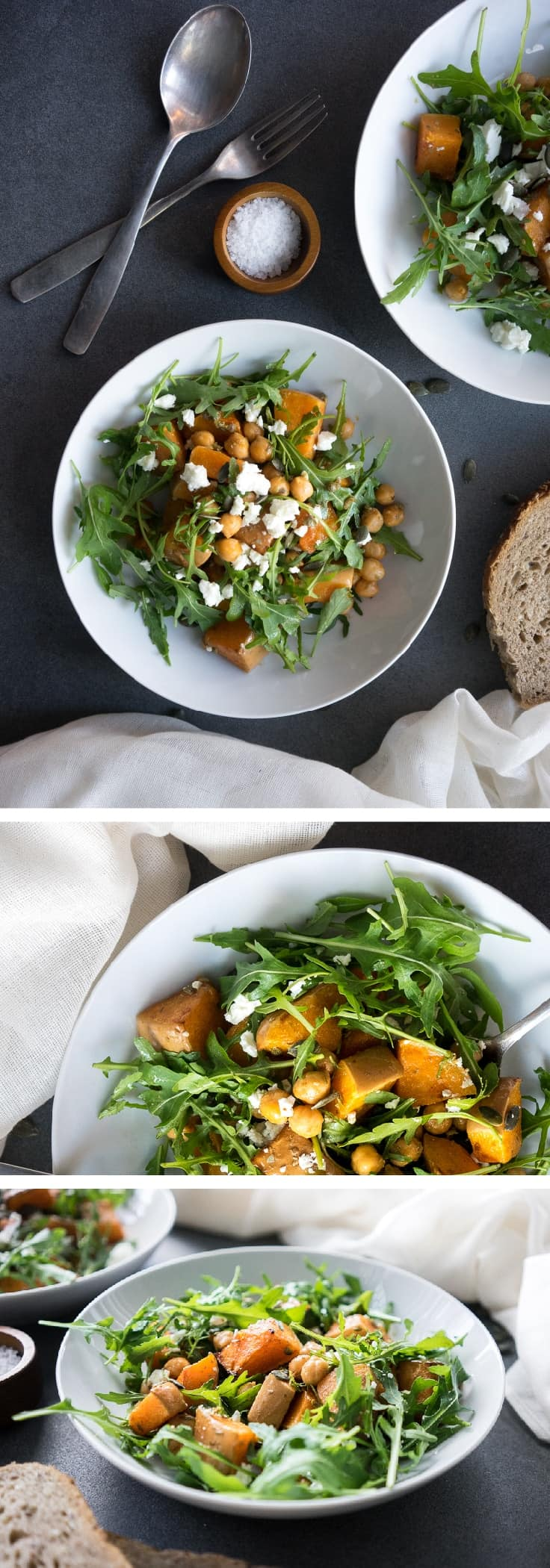 A warming and filling salad to die for! This colourful and delicious warm roasted butternut squash salad makes you feel fantastic, but tastes amazing! Pinning for dinner! width=