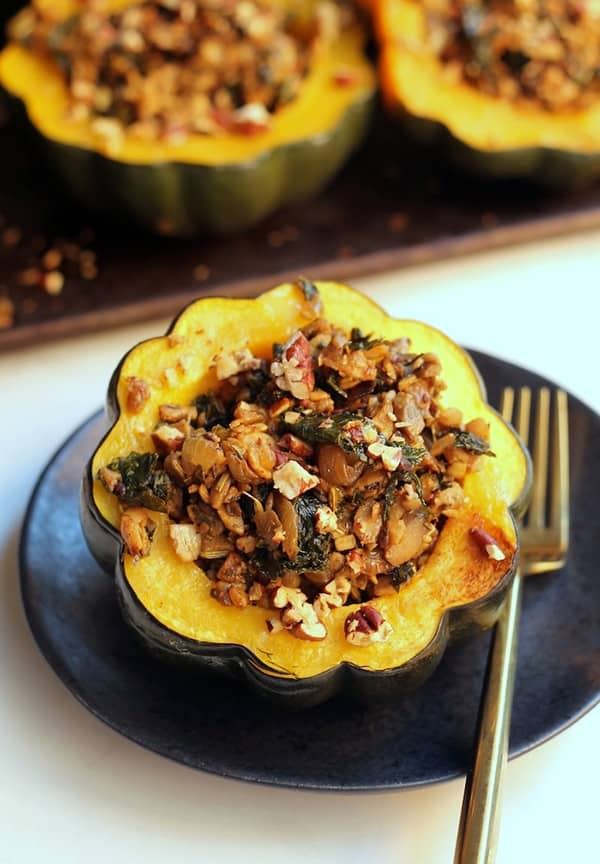 Tempeh Sausage Stuffed Squash Enjoy this flavorful Stuffed Squash as a healthy meatless meal! Vegan, gluten-free, and carnivore-approved!