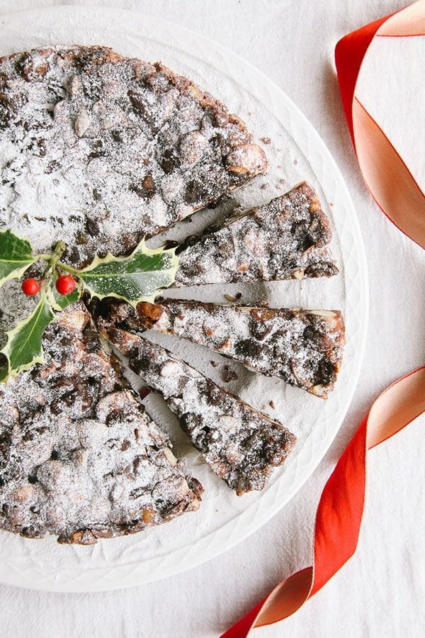 Vegan Panforte Panforte is a traditional Italian dessert made with fruits, nuts and spices. It dates back to the 13th century in Siena, Tuscany. It's a mix between a fruitcake and a candy and the flavour is sweet, festive and completely addictive!