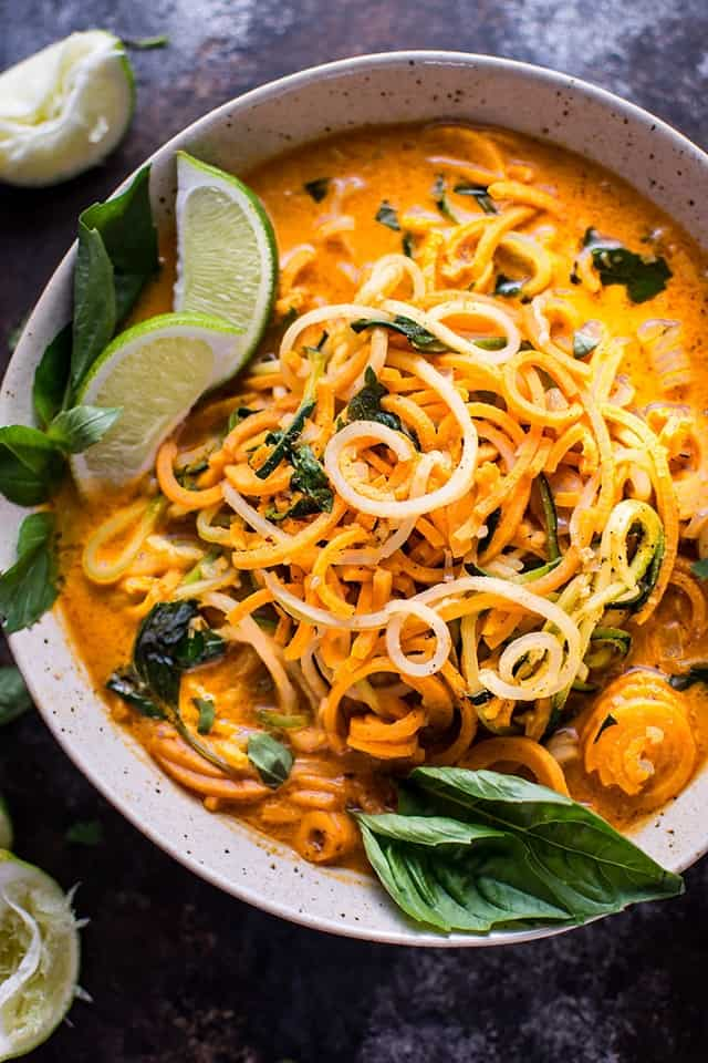 This soup is light and fresh. Made with spiralized veggies, it's low-carb and full of goodness. I love the creaminess of the coconut milk, in this warm delicious soup.