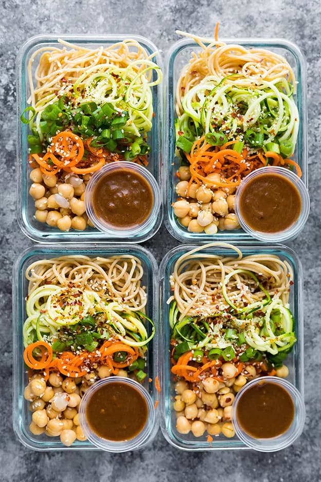 Cold Sesame Noodle Meal Prep Bowls: Meal Prep Ideas Ready in 30 minutes or less