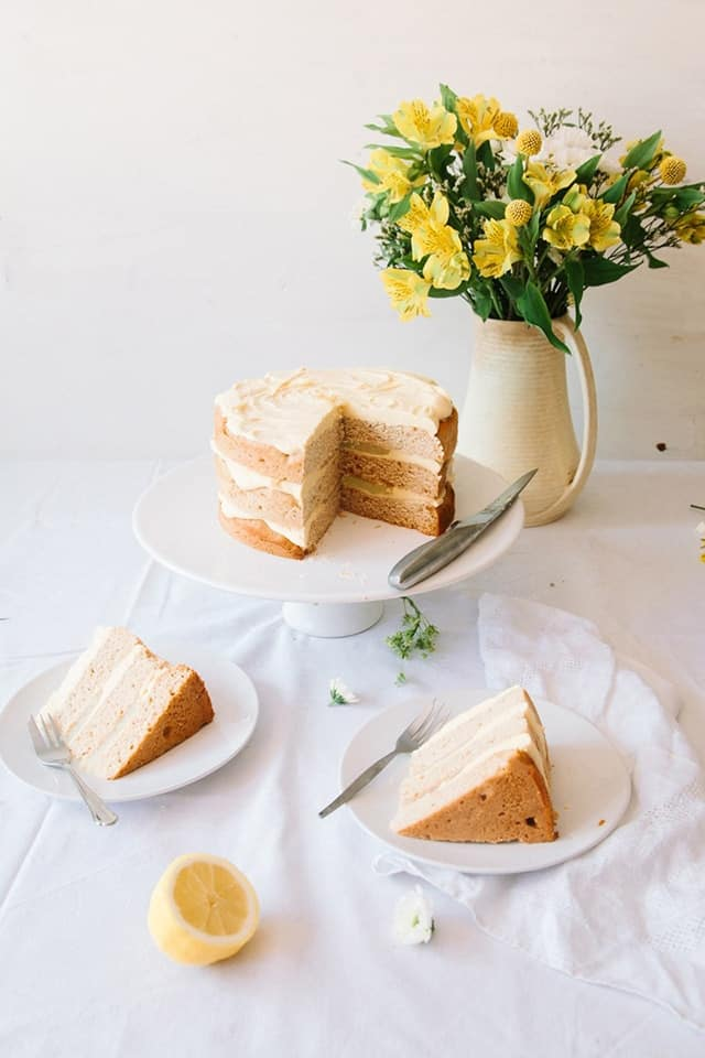 Vegan Elderflower Cake with Lemon Curd & White Chocolate Frosting | Over 30 eggcellent vegan Easter recipes that are guaranteed to impress! The best vegan breakfast, brunch, lunch and dinner ideas to impress your family! Plus some delicious dessert recipes to make your Easter special.