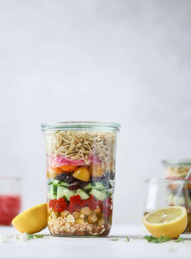 Greek Orzo Salad In a Jar: Healthy Meal Prep Ideas Ready in 30 minutes or less