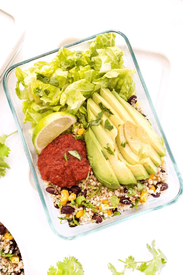 Meal Prep Vegetarian Quinoa Burrito Bowls: Meal Prep Ideas Ready in 30 minutes or less