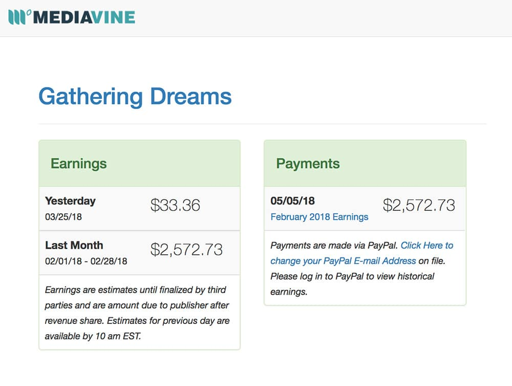Gathering Dreams - Mediavine Income Report