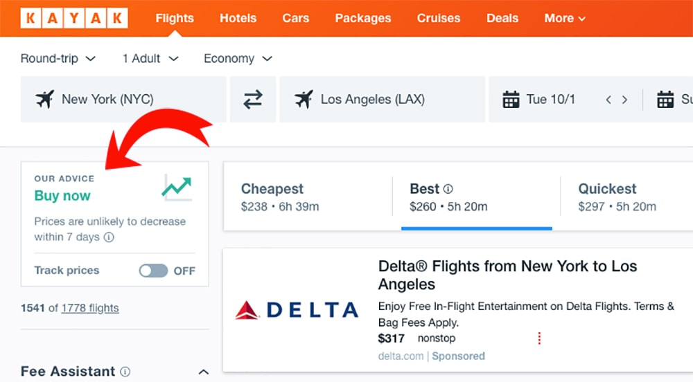 How to find cheap flights by tracking Kayak Flights prices