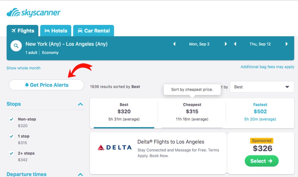 "How to find cheap flights by using Skyscanner ""Get Price Alerts"""