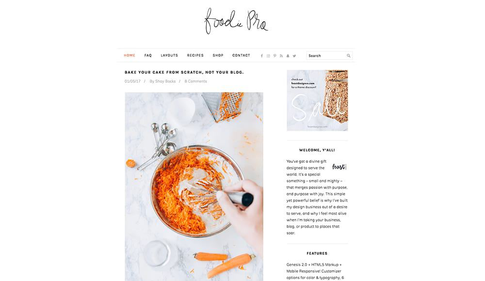 Foodie Pro Genesis Theme | How to start a successful blog in 6 simple steps: pick your blog topic, pick a domain name, choose the right platform, buy hosting, install WordPress, select a theme! Ready to make money blogging? I made over $3k after 3 months. You can too!
