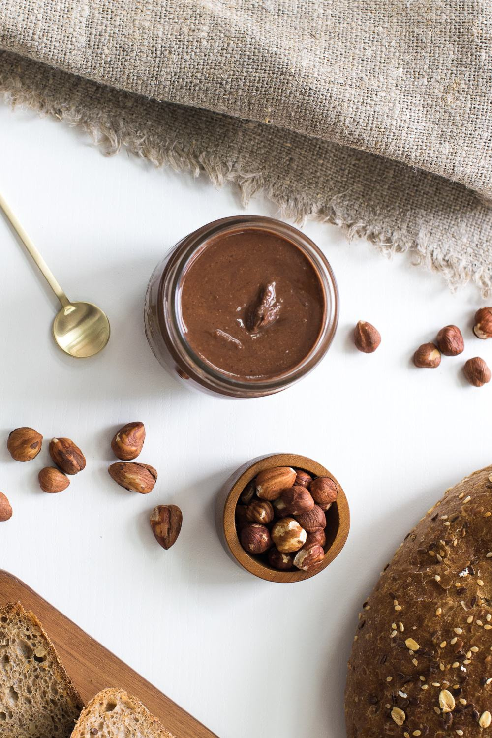 This vegan Nutella is so simple to make and it's delicious! It has less than half the calories of the real deal and it's full of vitamins and healthy fats!