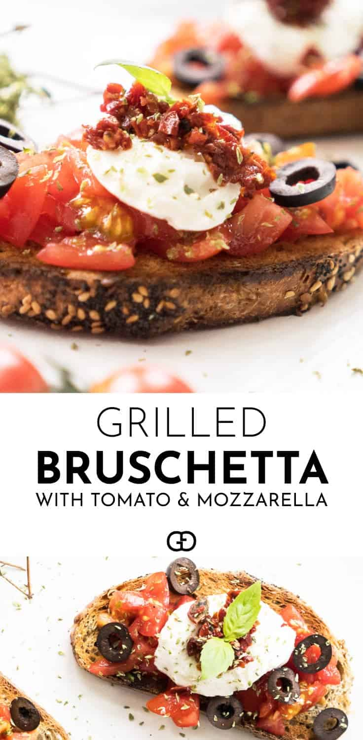 This easy grilled bruschetta recipe with mozzarella and tomatoes is perfect! Grilled smoky bread, delicious sun-ripened tomatoes, sun-dried tomatoes, extra virgin olive oil, delicious mozzarella and black olives make this the ultimate homemade appetizer for your summer parties! Ideal to make any BBQ special!