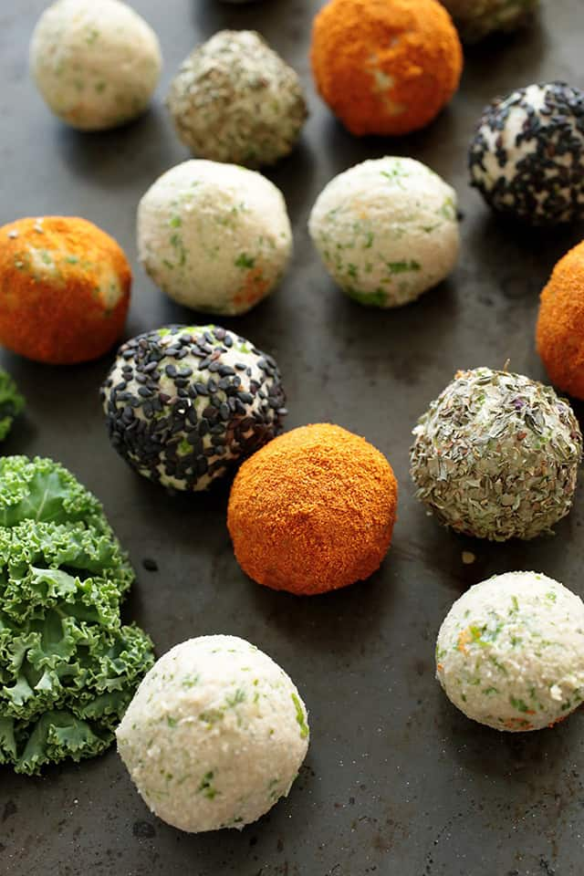 Spicy Bean Balls with Kale | 15 Healthy Vegan Snacks, made with whole plant-based ingredients, that are perfect to stay in shape! All these DIY snacks are portable, gluten-free and less than 150 calories! These energizing snacks will keep you on track while on a healthy balanced diet!