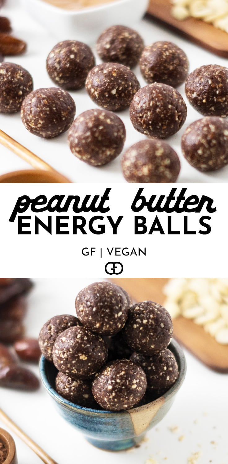 These easy to make and healthy Peanut Butter Energy Bites are ready in record time, and need only 5 simple ingredients! Chocolaty and peanut buttery, and less than 100 calories per bite! So yummy! #energybites #healthysnacks #vegan #glutenfree
