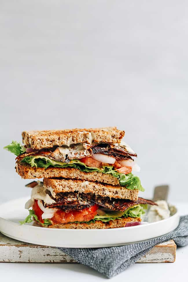 """Vegan """"BLT"""" Sandwich (Minimalist Baker): These are the most awesome vegan sandwiches recipes you'll ever find! Perfect for your work or school lunchbox, or for a quick and easy meal on the go!"""