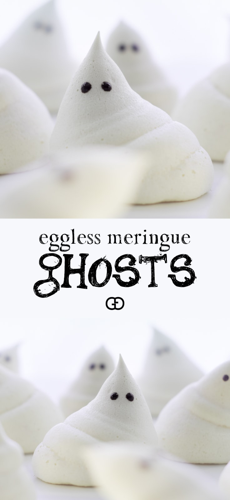 How to make Eggless Ghost Meringues for Halloween. An easy and cute Halloween dessert idea! #halloween #halloweentreat #easyhalloweendessert #halloweenfood #meringue #howtomakemeringue #ghosts #vegan