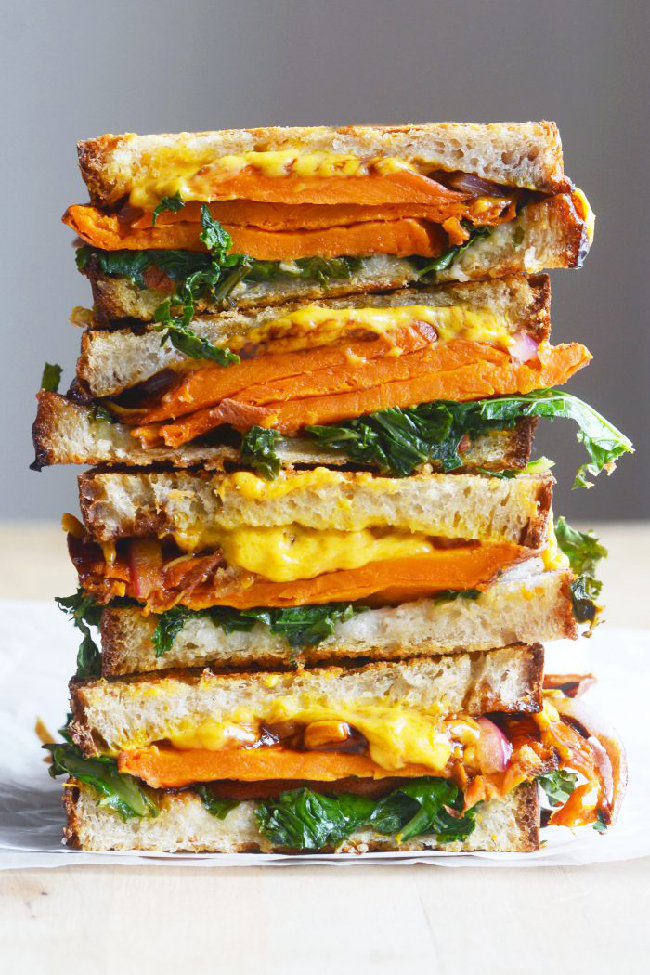 Vegan Balsamic Sweet Potato Grilled Cheese Sandwich (The Colorful Kitchen): These are the most awesome vegan sandwiches recipes you'll ever find! Perfect for your work or school lunchbox, or for a quick and easy meal on the go!
