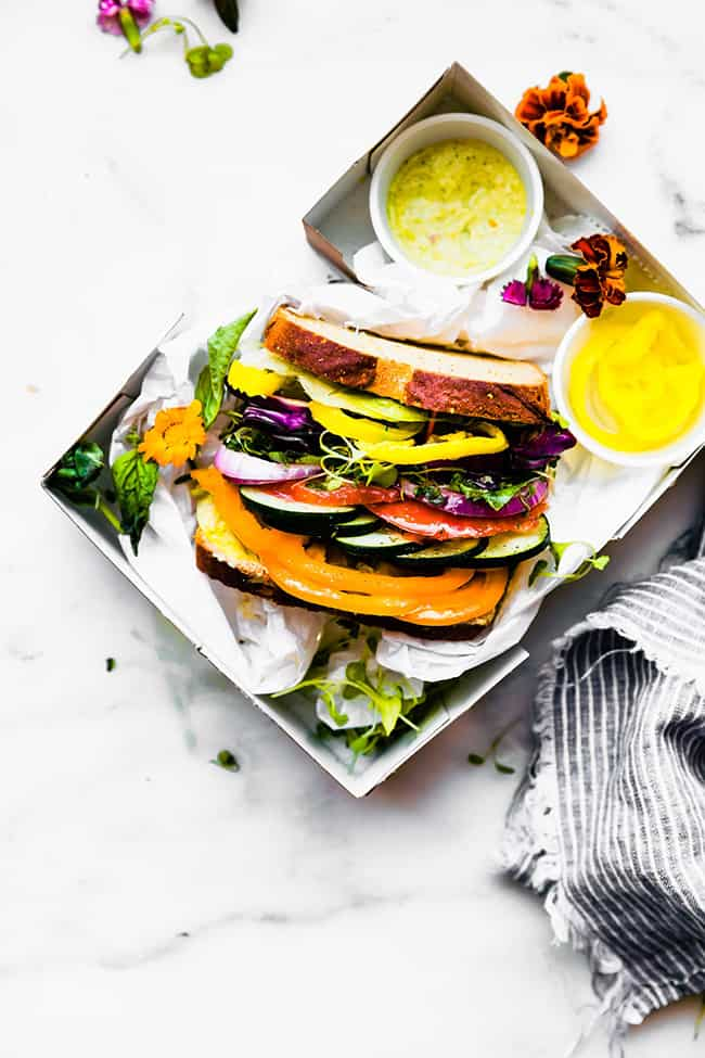 The Ultimate Farmer's Market Veggie Sandwich (Cotter Crunch): These are the most awesome vegan sandwiches recipes you'll ever find! Perfect for your work or school lunchbox, or for a quick and easy meal on the go!