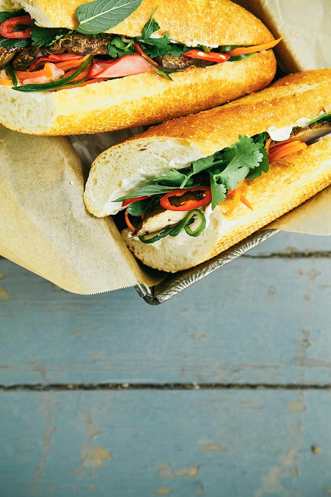 Portobello Banh Mi with Pickled Vegetables (The First Mess): These are the most awesome vegan sandwiches recipes you'll ever find! Perfect for your work or school lunchbox, or for a quick and easy meal on the go!