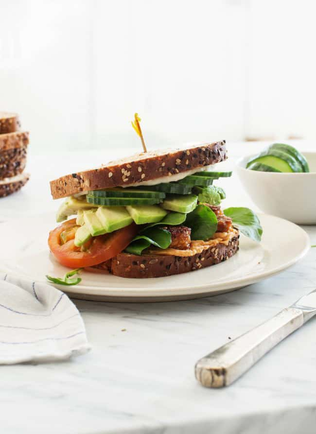 Tempeh Vegan Club Sandwiches (Love and Lemons): These are the most awesome vegan sandwiches recipes you'll ever find! Perfect for your work or school lunchbox, or for a quick and easy meal on the go!