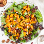 Top view of roasted butternut squash salad