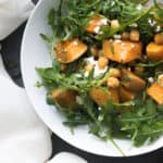 This roasted butternut squash salad with feta is warm and delicious. It's healthy, easy to make and tastes amazing! The perfect fall recipe!