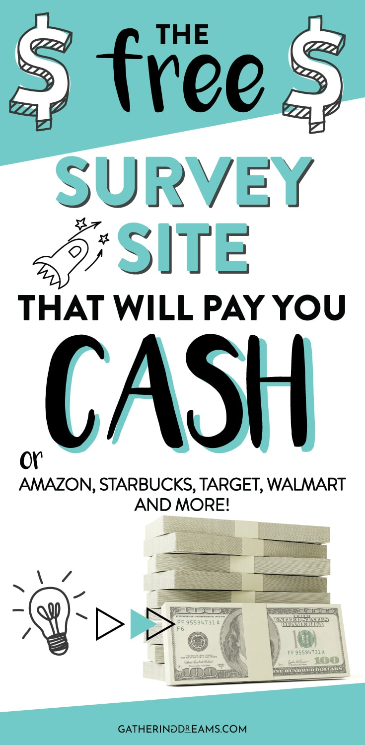 This survey site is legit, free and pays in cash via PayPal. Or you can get free gift cards from Amazon, Starbucks, Walmart, Target and more! Make Money Online | Survey Sites That Pay | Surveys For Money #makemoneyonline #makemoneyfromhome #surveys