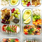 Top view of lunch box ideas in glass containers