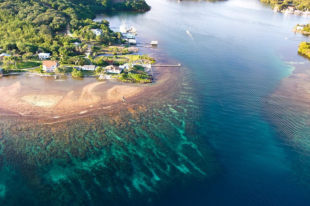 Fantastic reefs and clear water on Roatan Island, Honduras: one of the cheapest places to visit in Central America