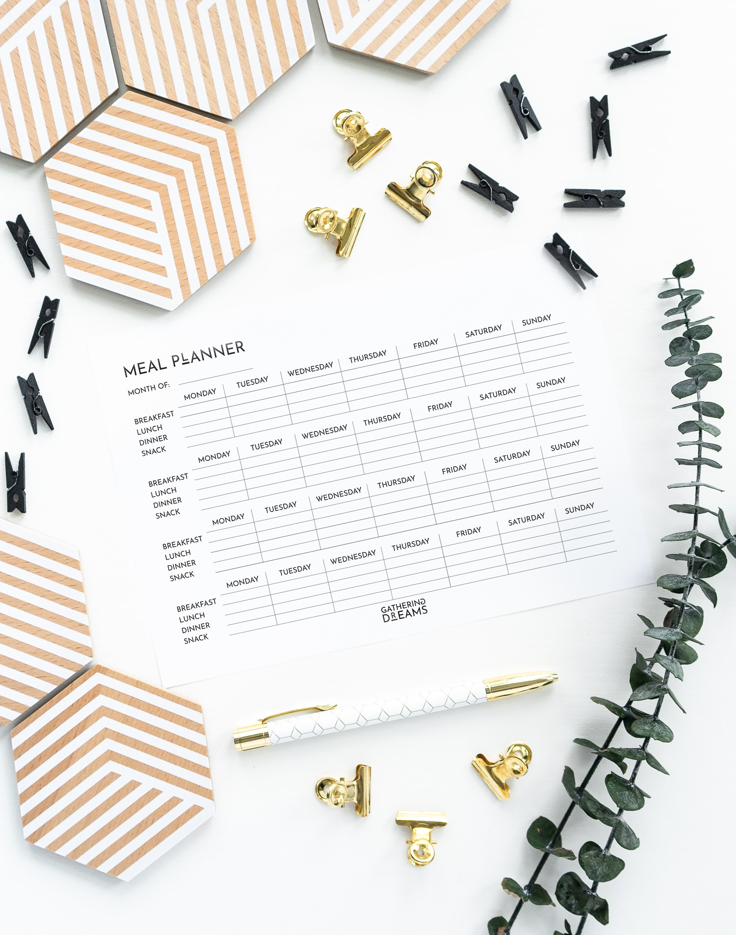 Meal Planner Minimalist Design: Monthly Meal Planner