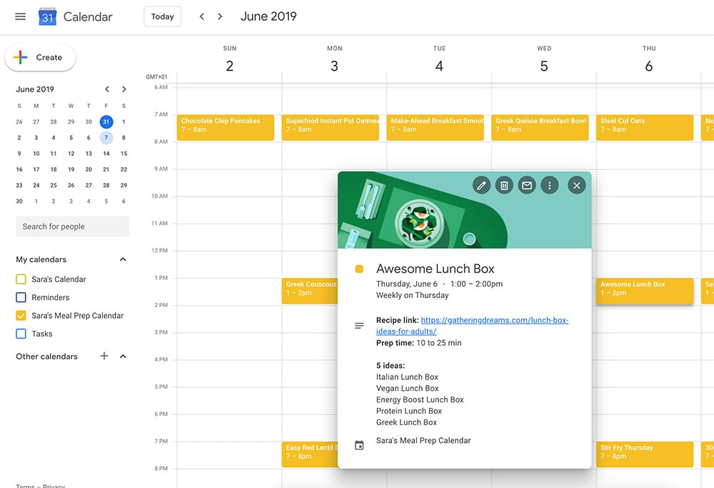 Meal Planner Template: Google calendar notes
