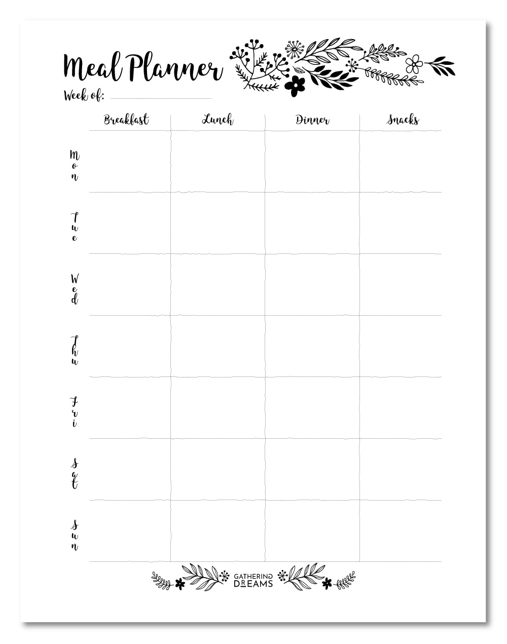 Free Floral Meal Planner Template