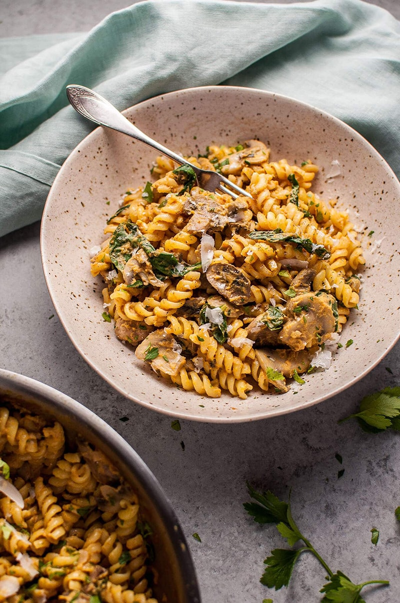 Pumpkin, Mushroom, and Spinach Pasta from Salt and Lavender: one of my fall dinner ideas
