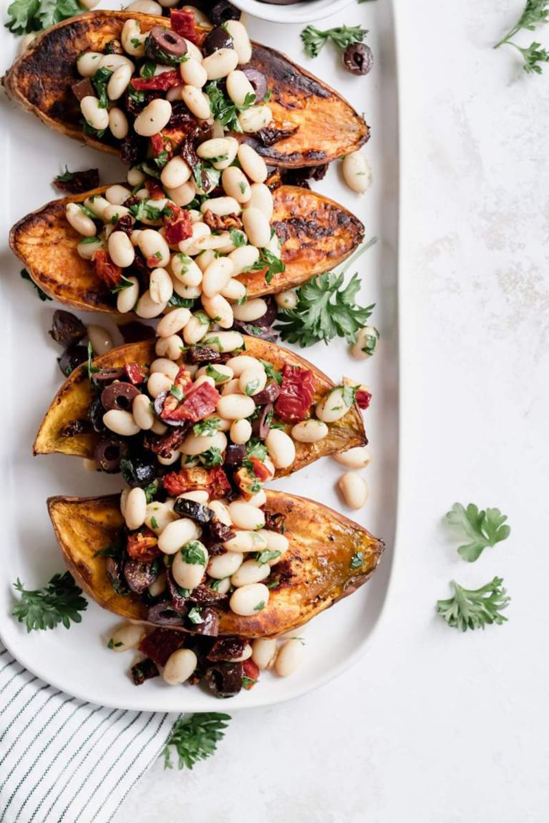 Mediterranean White Bean Stuffed Sweet Potatoes from Healthy Little Vittles: a delicious fall recipe