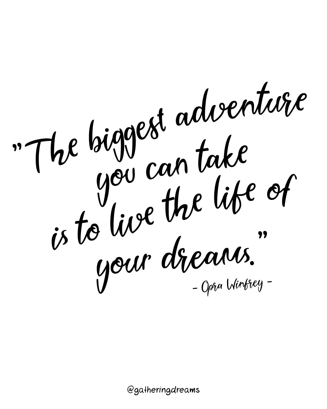 """The biggest adventure you can take is to live the life of your dreams."" Oprah Winfrey - The best dream quotes of all times #inspiration #inspirationalquotes #motivationalquotes #dreams"