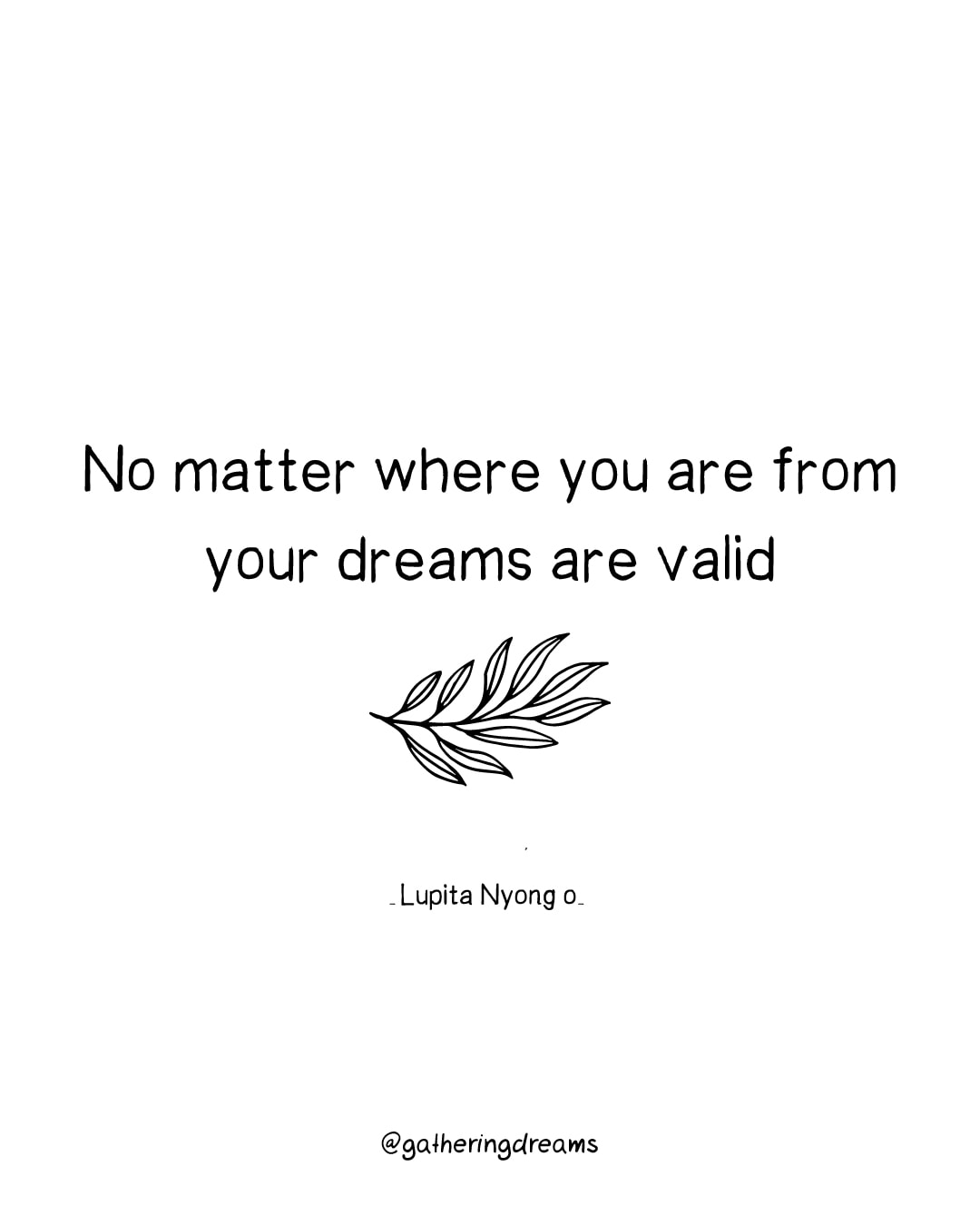 """No matter where you're from, your dreams are valid."" Lupita Nyong'o - The best dreams quotes of all times #inspiration #inspirationalquotes #motivationalquotes #dreams"