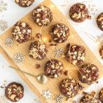 Close up of chocolate hazelnut cookies