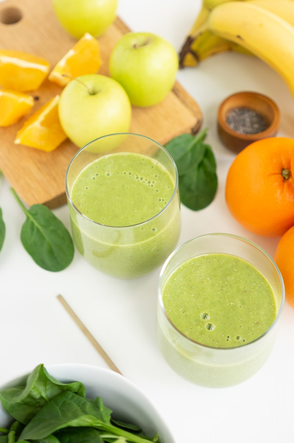 Green smoothie in glasses ready to drink