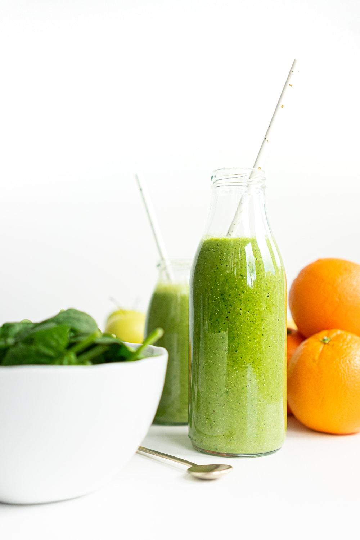 Green smoothie in a milk jar