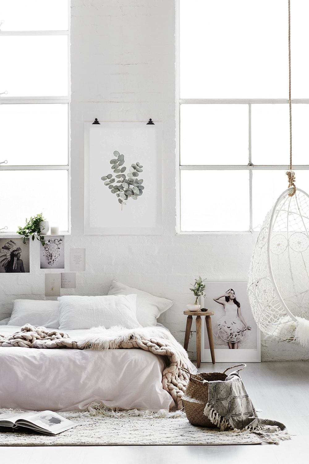 Scandi style bedroom view to show how you can make money while you sleep with passive income!