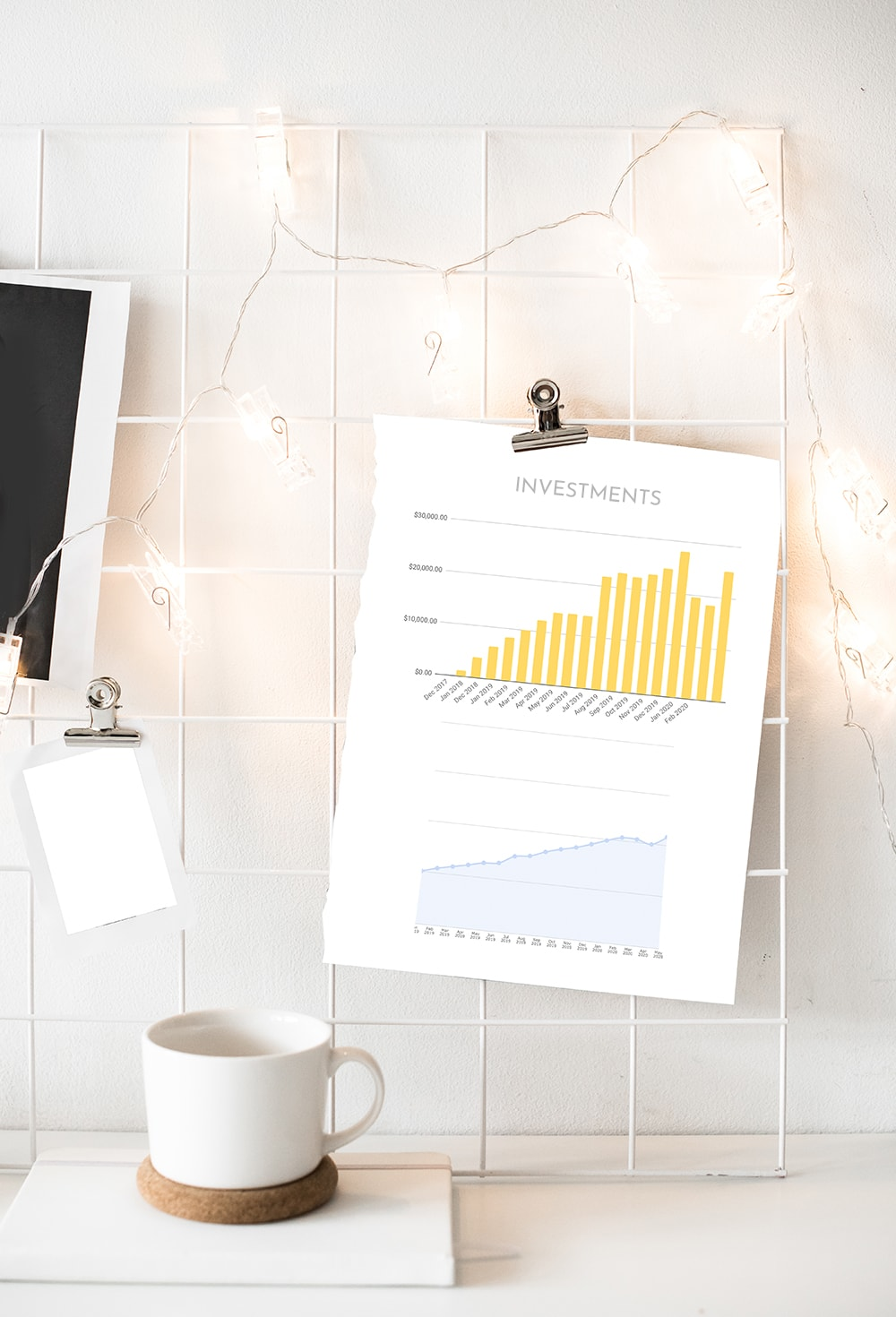 Photo of a paper sheet attached to wall with some investment graphs