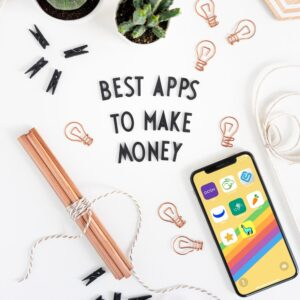 Top view of black letters on white background saying: BEST APPS TO MAKE MONEY. Plus a smartphone with the best money-making apps on the display