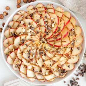 top view of healthy apple nachos recipe