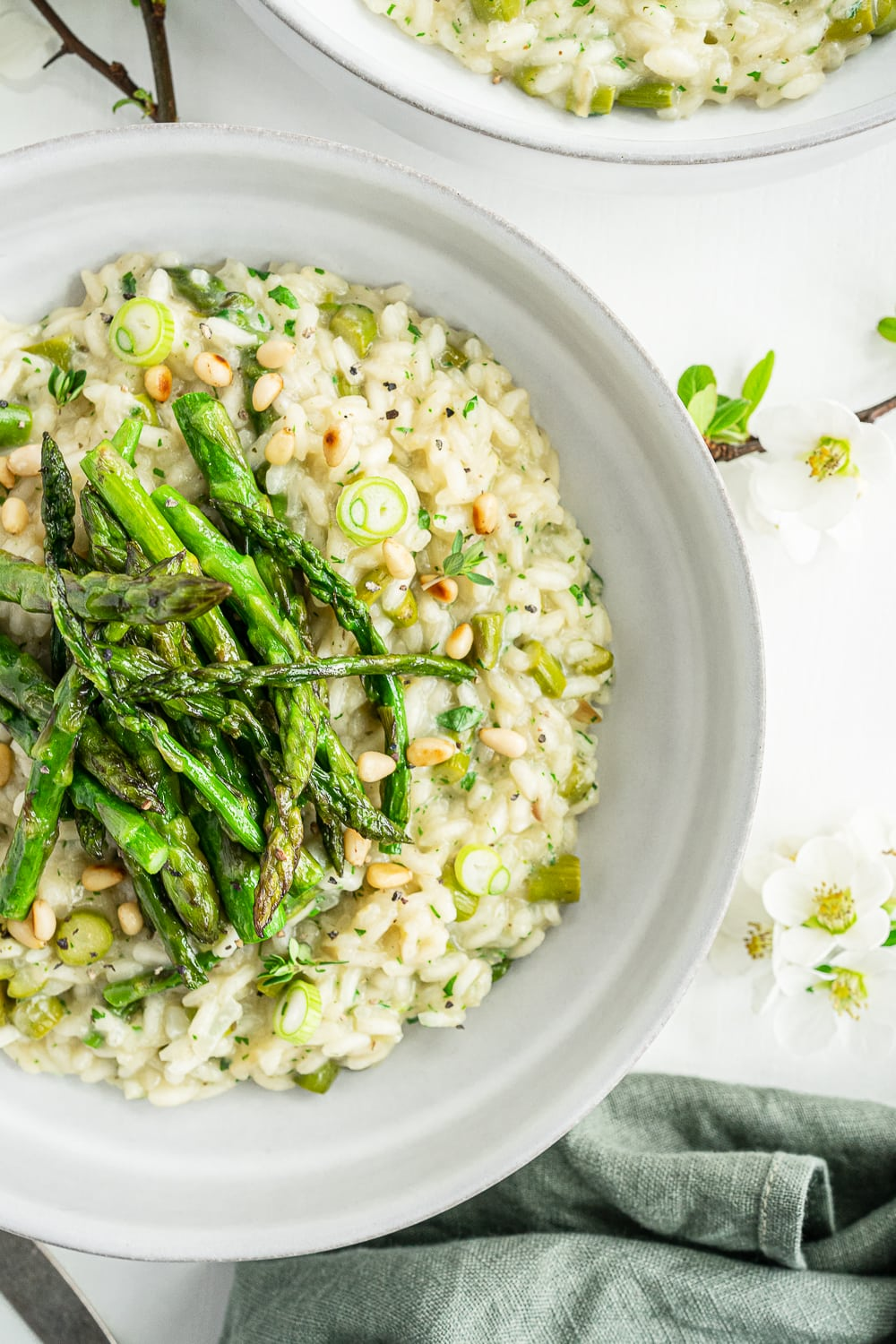 Close up of asparagus risotto
