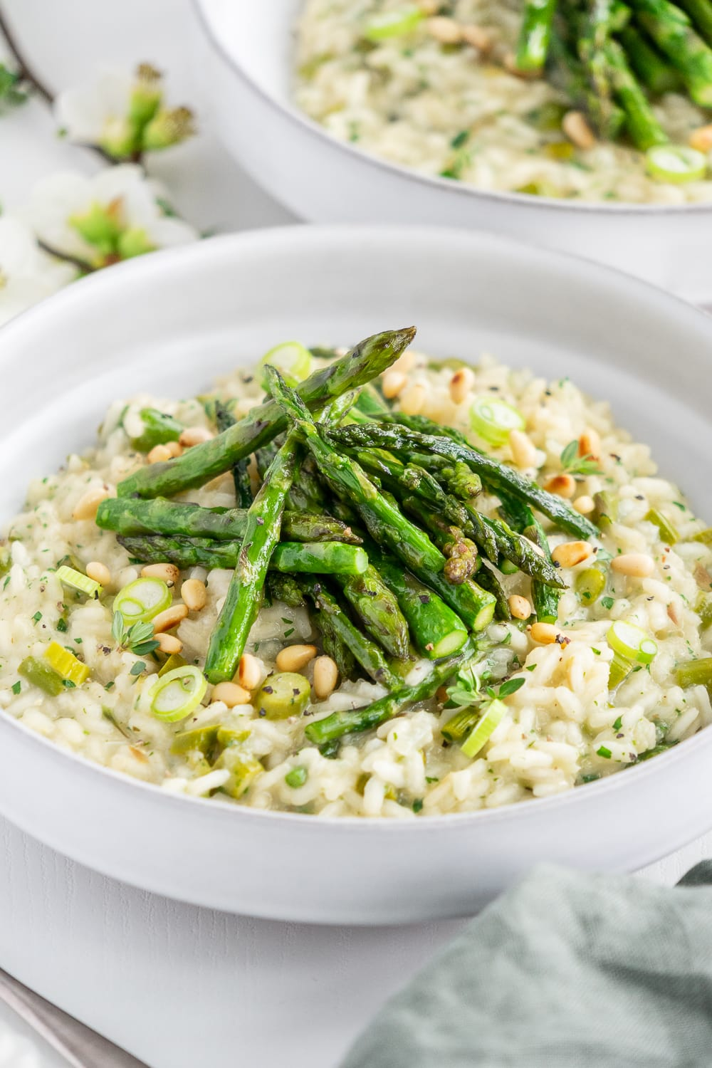 Close up of plate with vegan asparagus risotto