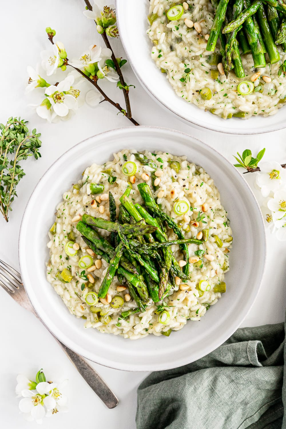 Top view of plated vegan asparagus risotto