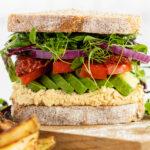 Close up avocado sandwich