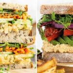 two vegan sandwiches side by side